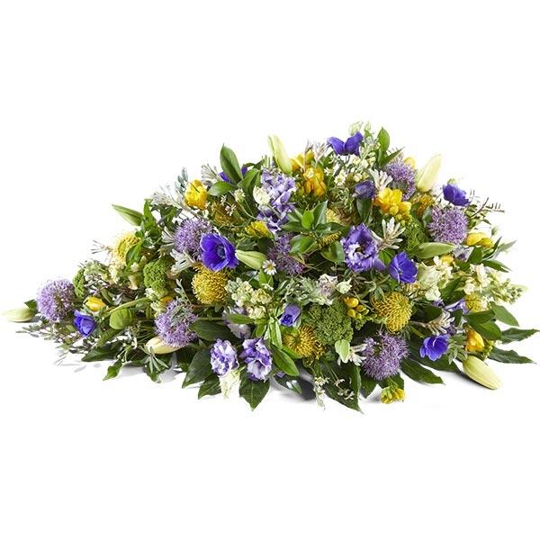 Rouwstuk druppel paars met geel