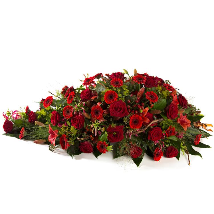 Langwerpig rouwstuk rode tinten
