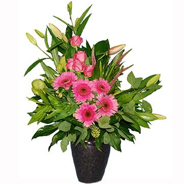 Rouwboeket roze met Lelies