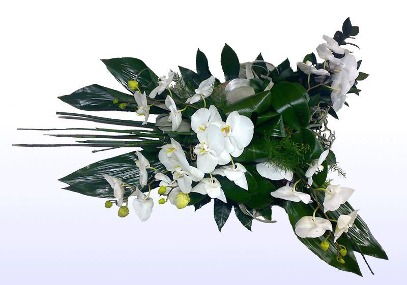 Rouwarrangement langwerpig met witte Orchidee