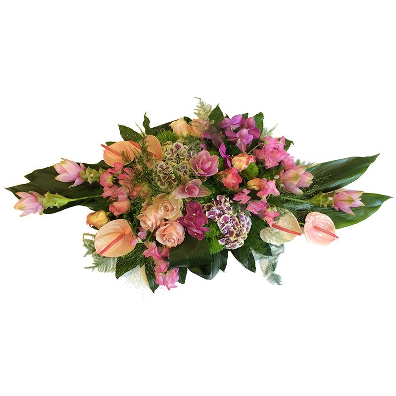 Rouwarrangement luxe bloemen gemengd