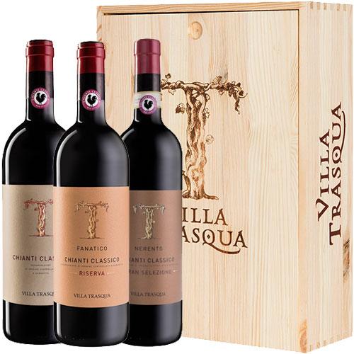 Wijnpakket Chianti Classico Villa Trasqua in wijnkist