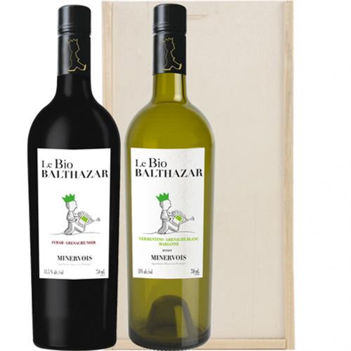 Le Bio Balthazar Minervois 2 flessen Biologische wijn in kist