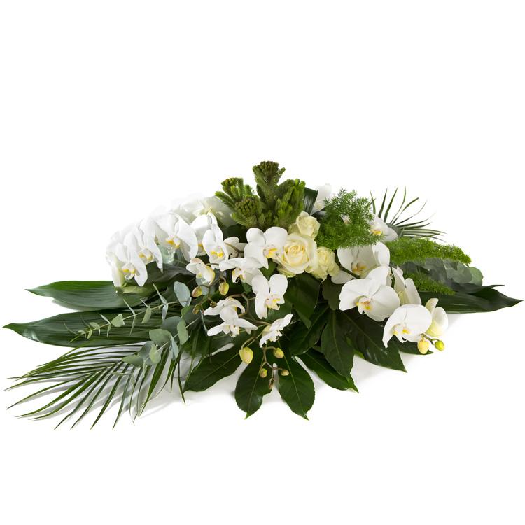 Rouwarrangement wit met Orchidee