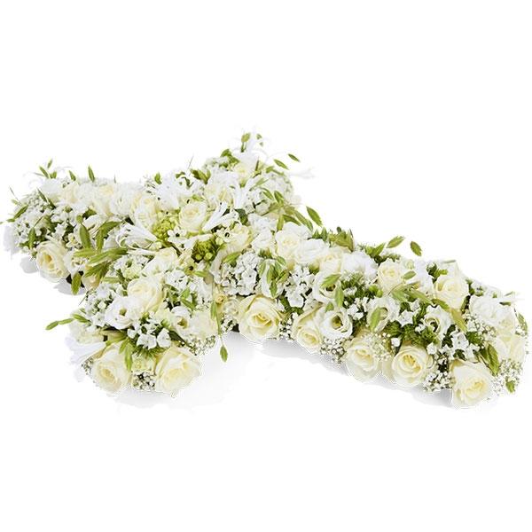 Rouwstuk kruis witte bloemen