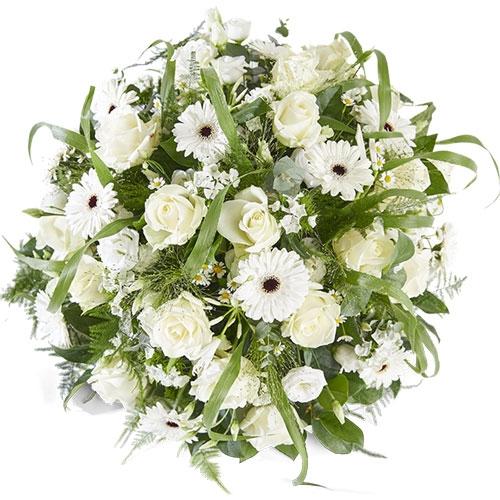 Rouwbiedermeier met witte bloemen