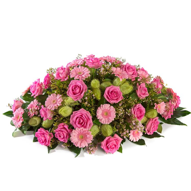 Rouwstuk ovaal roze tinten met oa Germini en Rozen