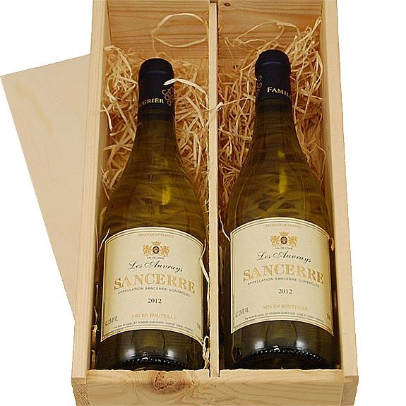 Sancerre witte wijn 2 flessen in wijnkist