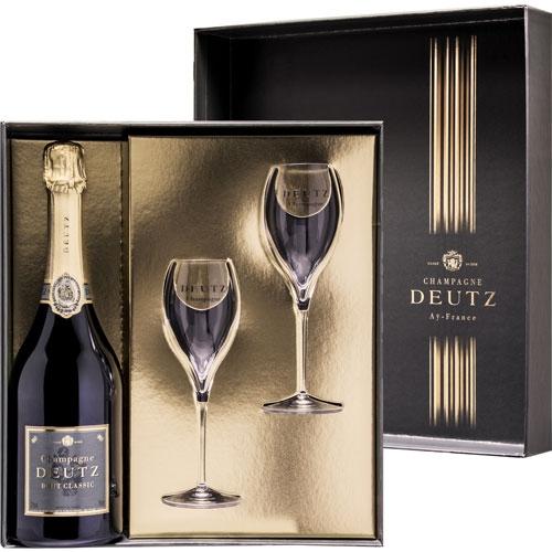 Deutz Brut Classic in cadeauverpakking met glazen