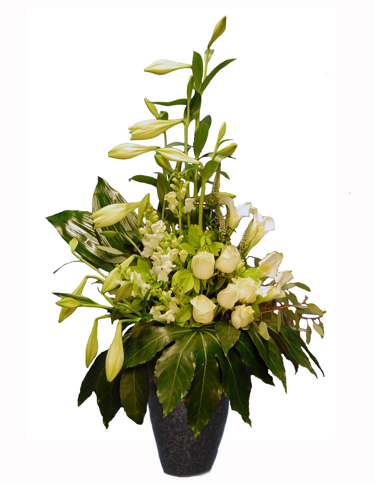 Rouwboeket wit met Lelies