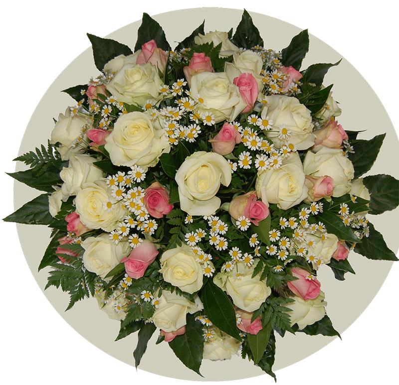 Rouwbiedermeier witte en roze Rozen