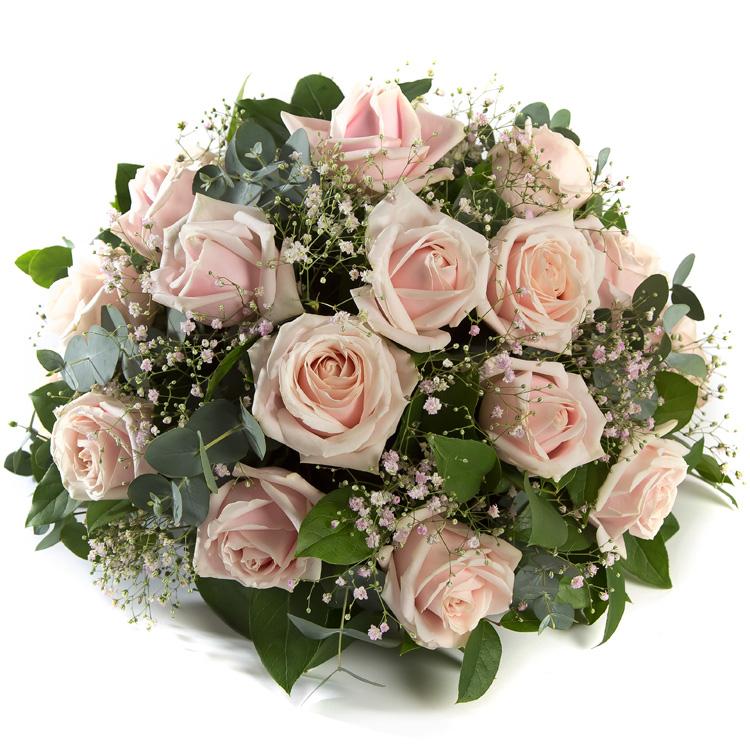 Rouwbiedermeier licht roze Rozen met Gipskruid