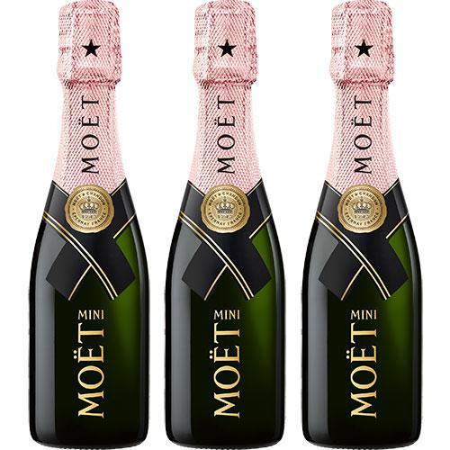 Moët & Chandon Rosé Mini set van 3 met opzet flûtes