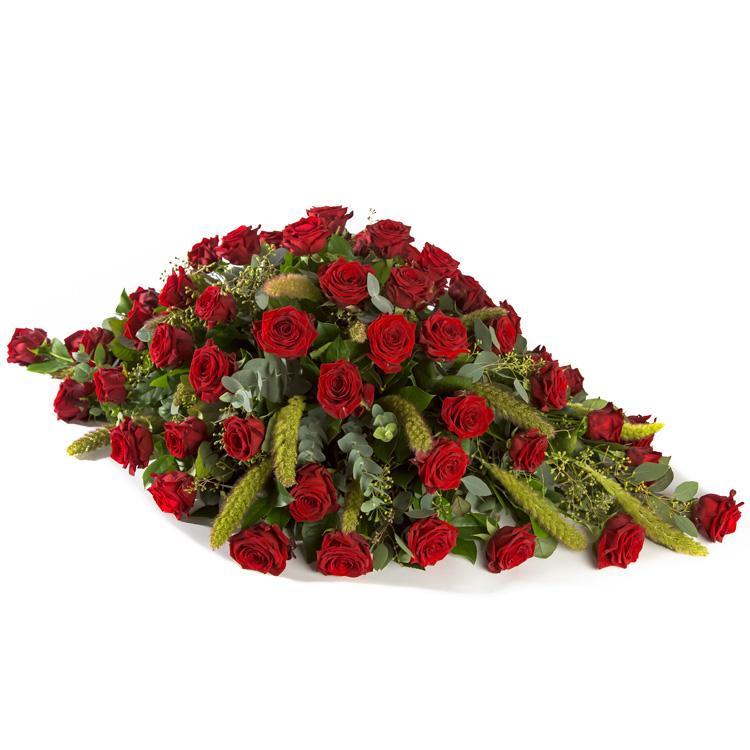 Druppelvormig rouwstuk rode Rozen