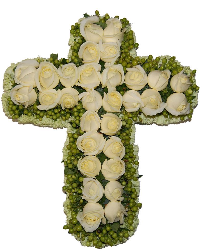 Rouwstuk kruis witte Rozen