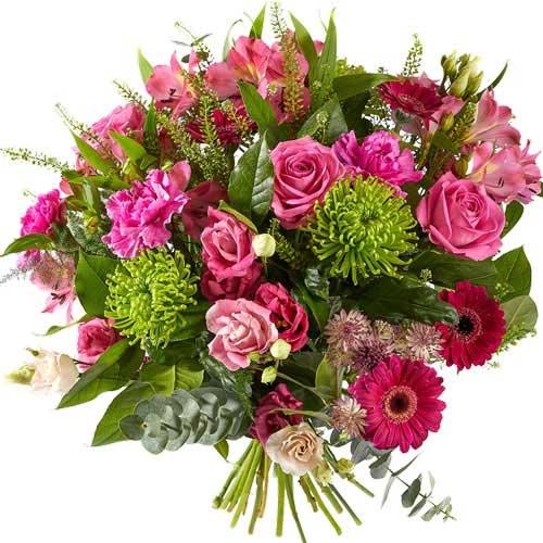 Gemengd boeket met roze Rozen