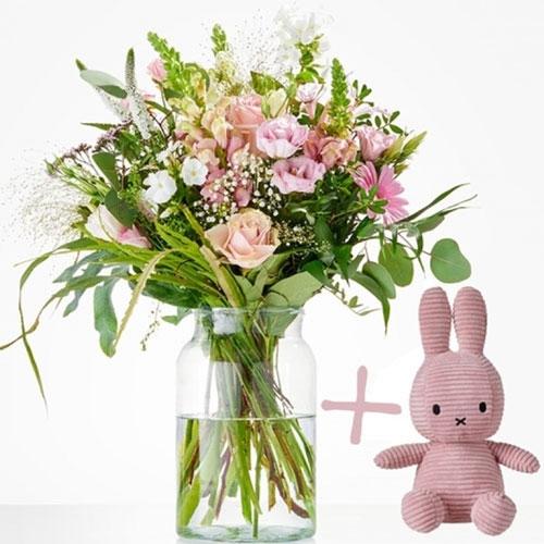 Geboorteboeket roze met Nijntje