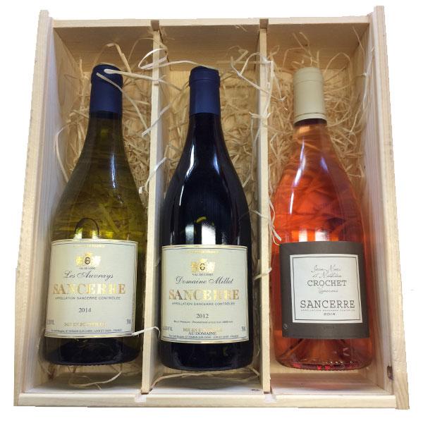 Trio van Sancerre Sauvignon Blanc wijnen in houten kist