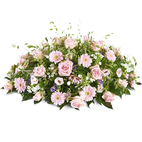Rouwstuk ovaal gemengd roze
