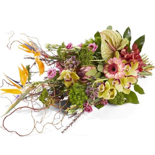 Rouwboeket met luxe bloemen